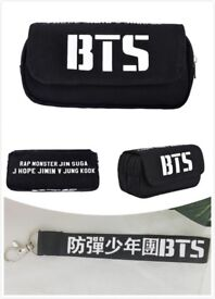 BTS Bangtanboys Student Stationery Canvas Zipper Pencil Case Storage Bag Wallet with Keychain Gift
