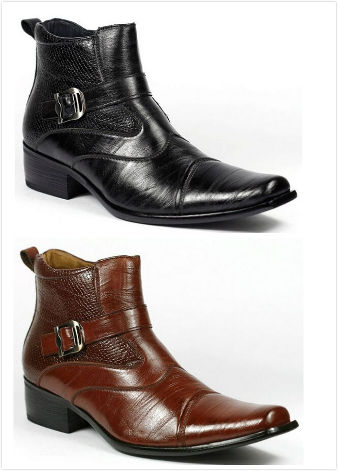 Boots - Brand New Men's Faux Leather Buckle Strap Ankle High Dress Boots Shoes