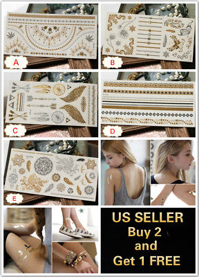 Gold Waterproof Fashion Art Fake Body Temporary Tattoo Stickers Removable Wings
