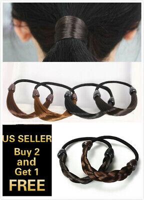 Womens Ponytail Holder - Womens Braid / Straight Wig Elastic Hair Band Rope Scrunchie Ponytail Holder