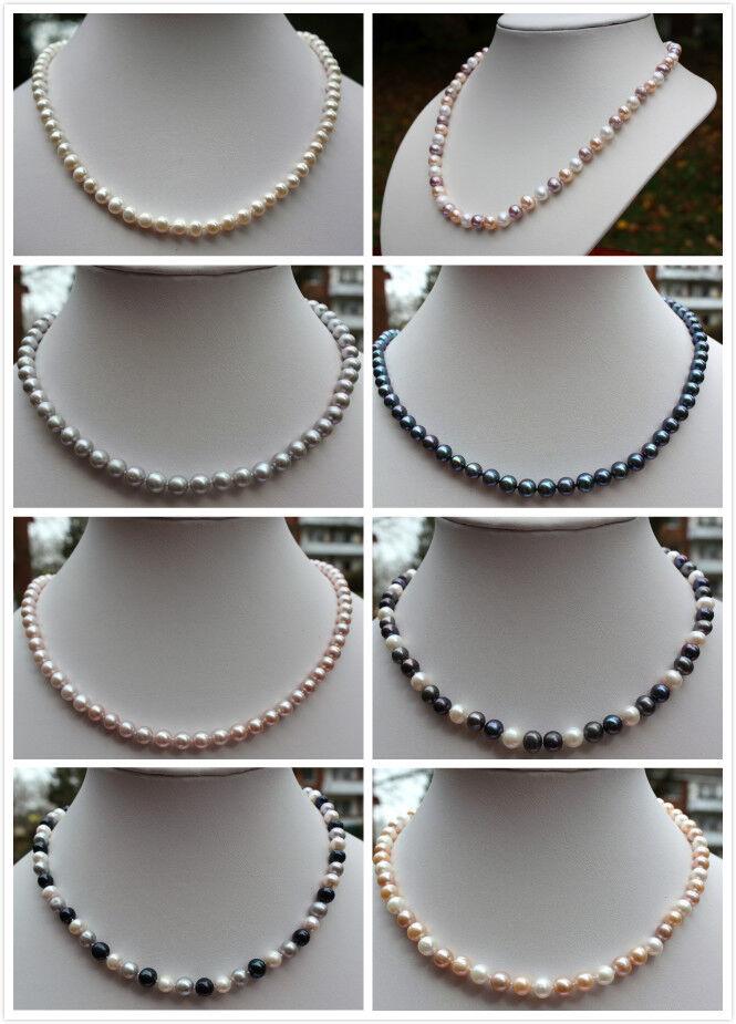 100%  Echte Süßwasser Zucht Perlen Schmuck Perlenkette Halskette Kette Collier