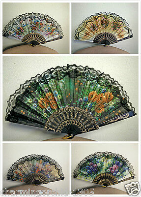 Folding Hand Fan - Spanish Style Flora / Oriental Dance Party Wedding Silk Folding Hand Fan Lace