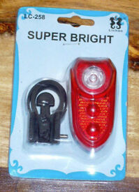 LED BIKE LIGHT RED SUPER BRIGHT LED REAR LIGHT KIT BNIP LC-258 LOOK 3 LED 3 MODE