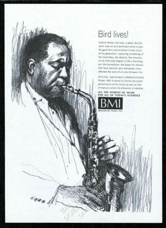 1967 Charlie Parker portrait with saxophone BMI vintage print ad
