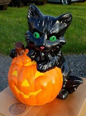 Big Cat w/ Pumpkin Halloween Cut Out w/ Light Ready to Paint Unpainted Bisque  - Halloween Pumpkins To Cut Out