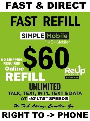 SIMPLE MOBILE PREPAID REFILL $60