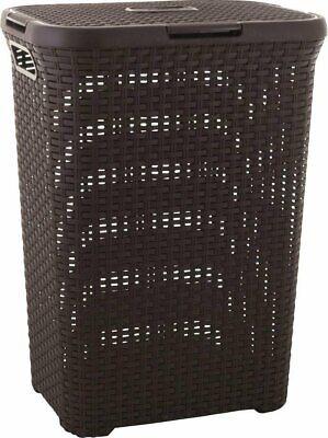 Laundry Basket 40L Curver Natural Rattan Style Scandinavian Brown Hamper Bin New Natural Rattan Hamper