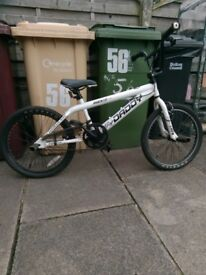white bmx rooster daddy stunt bike with stunt pegs front and back