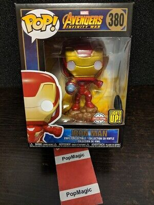 🤖IN HAND🤖FUNKO POP!🤖IRON MAN #380 LIGHT UP🤖MARVEL AVENGERS🤖FREE PROTECTOR🤖 ()