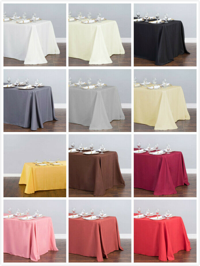 1/10 Pcs 90 x 132 in. Polyester Rectangular Linen Tablecloth