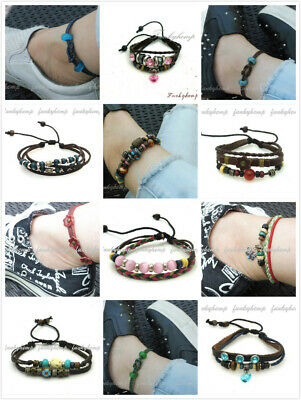 Hemp Leather Beads Bracelet Adjustable to Anklet Heart Butterfly Flower Charm ()