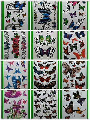 Wholesale 12 Sheets Water Transfer Temporary Tattoos Butterfly D - Wholesale Temporary Tattoos