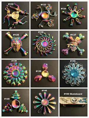 Mix Rainbow Metal Fidget Hand Spinner Long Last Spin ADHD Stress Relief Desk Toy