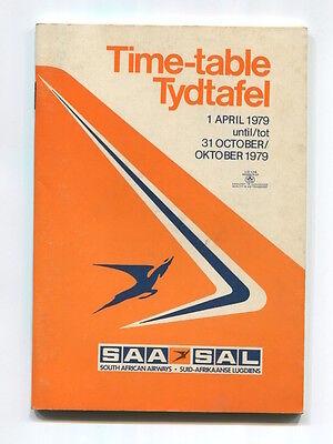 SOUTH AFRICAN AIRWAYS SAA TIMETABLE SUMMER 1979 SAL