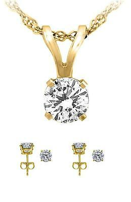 1.25ct 14k Solid Yellow Gold Round Cut Solitaire Pendant Necklace Stud earrings