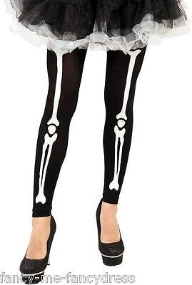 Damen Schwarz Weiß Halloween Skelett Strumpfhose Fußlos Kostüm Kleid Outfit
