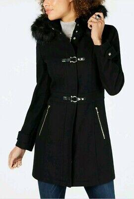 Ivanka trump women faux fur trim hooded toogle jacket in black colur. size 10