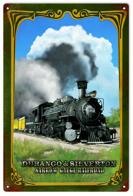 DURANGO SILVERTON  Narrow Gauge Railroad Metal Sign  / Vintage Rustic Style for sale  Shipping to Canada