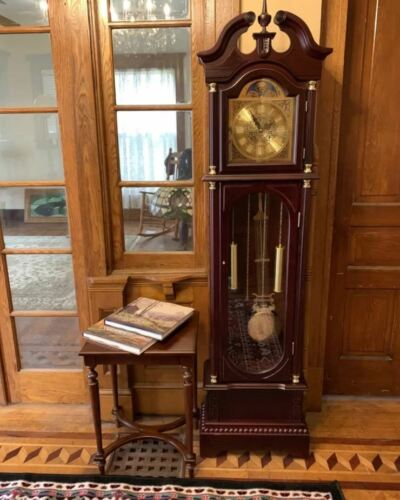 """Large Grandfather Clock 71.63"""" Tall Kit Antique Chiming Hourly Chimes Wood Decor"""