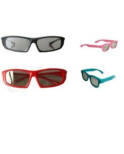 Family pack of 4 Pairs of Passive 3D Glasses 2 Adults 2 Kids Universal for Tvs