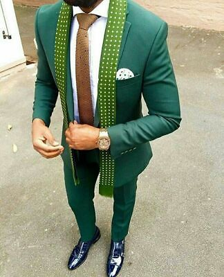 Formal Party Slim Fit Green Suits For Men Best Man Wedding Groom Tuxedos (Best Suits For Men)