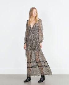 Zara long chiffon dress size M 8-10 Topshop style Gucci H&M Chanel LV