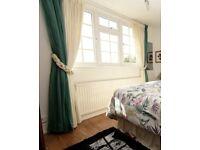 Long green sheer / voile / modern net panel curtains