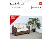 Kensington abaca rattan medium two seater sofa