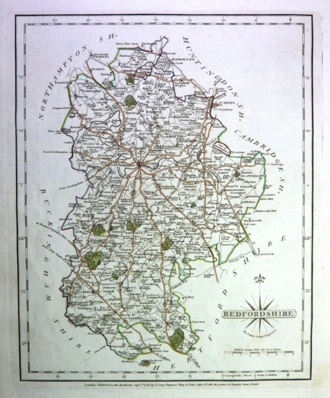 Antique map, Bedfordshire  ..