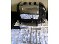 DUALIT COMBI 2 + 1 toaster + Toast Rack Cage Chrome + Black- VGC LONDON