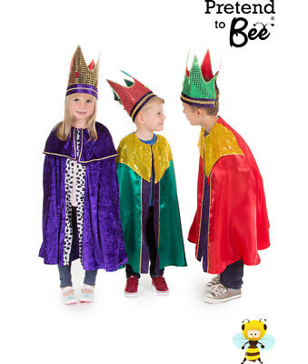 KIDS CHILDRENS NATIVITY KING WISE MAN 1 2 3 CLOAK COSTUME + CROWN OUTFIT AGE (3 Wise Man Kostüm)