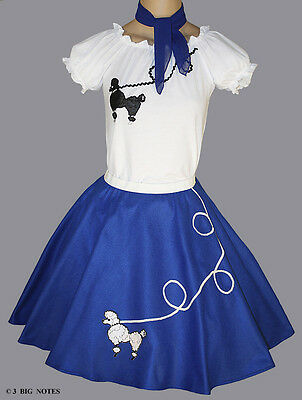 3-Pcs Blue 50's Poodle Skirt Outfit Girl - Sizes Medium 7,8,9 - Skirt W 20