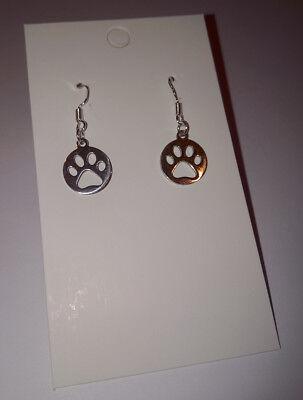 Pet Paw Print Earings 925 Sterling Silver Hoops - Cat or Dog  ()