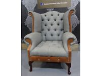 NEW Chesterfield Queen Anne Wing Back Chair in Grey Wool Effect Fabric & Tan Leather - Uk Delivery
