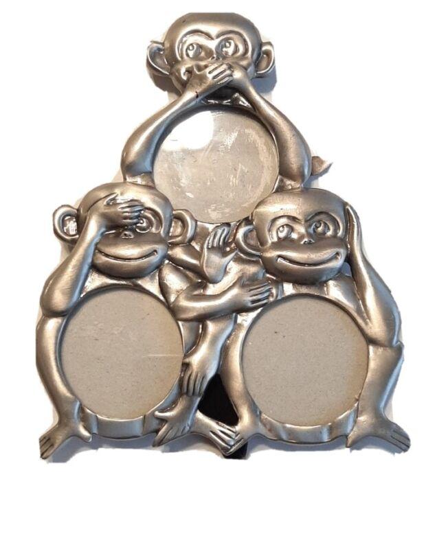 Monkee Triple Photo Frame Small, Pewter Speak, Hear, See no evil
