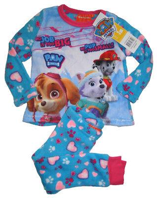 Kinder fleece Schlafanzug Paw Patrol Hunde Mädchen Pyjama Winterschlafanzug Neu