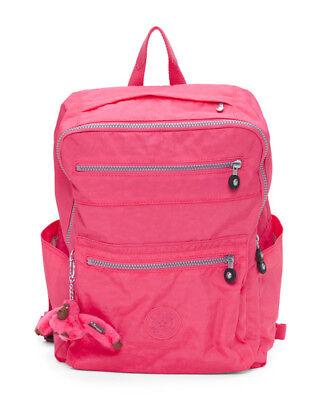 KIPLING Caity Nylon Multi Zip Backpack Vibrant Pink Nylon w/ Monkey Key Chain