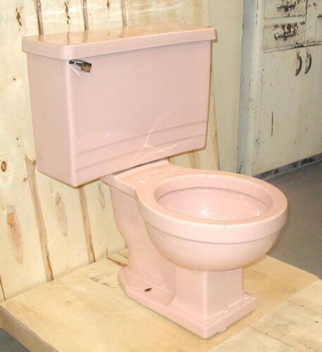 Rheem Pink Toilet, Two-Piece Style with Art Deco Tank, Vintage