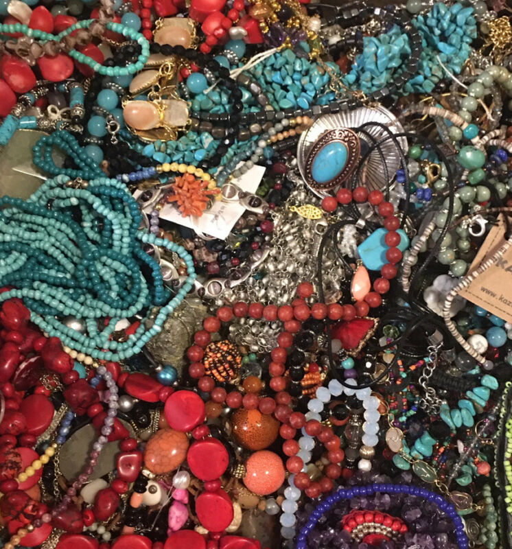 HUGE STONE JEWELRY LOT Vintage Modern POUNDS LBS Crystal  Beads Turquoise Estate