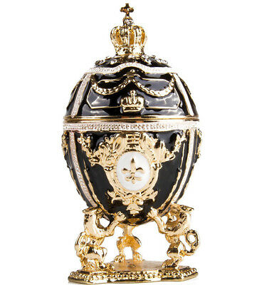 Gold Lions on Black Faberge Egg Made in Russia Jewelry Box Gift Box (Gold Eggs)