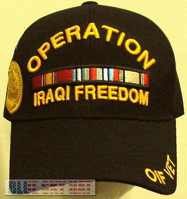 OPERATION IRAQ IRAQI FREEDOM OIF CAMPAIGN WAR MEDAL RIBBON VETERAN VET CAP HAT