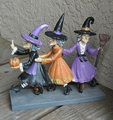 Witch Brooms (3 Dancing Witch Figurine*Primitive Whimsical Table/Shelf)