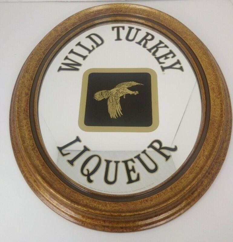 Vintage Wild Turkey Kentucky Bourbon Whiskey Framed Oval Mirror, Rare 1980