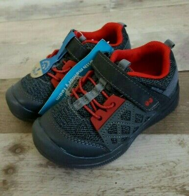 NEW! Stride Rite Surprize Boys Toddlers Size 7 Casey Light-Up Sneakers Gray Red