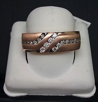 Genuine 14K Men's Rose Gold With Black & White Round Diamond 0.40CT Ring, (Rose Gold Ring With Black And White Diamonds)