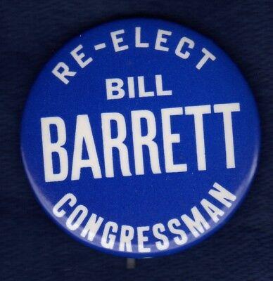 Bill Barrett Brown Prep St  Joes Phila Pa Congress Political Pinback Button  2