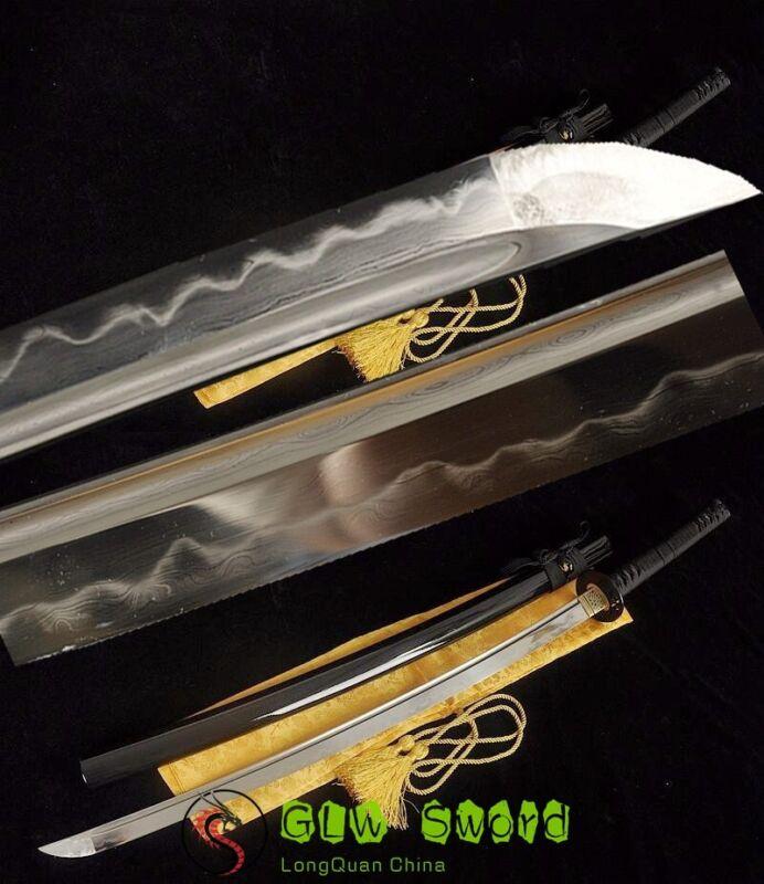 Clay Tempered Folded Steel Blade Japan Samurai Katana Sword Sharp Full Tang
