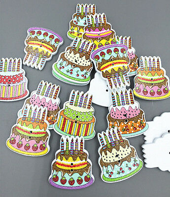 Wooden Cake happy Birthday Buttons Sewing Scrapbooking Crafts 2-Holes 30mm
