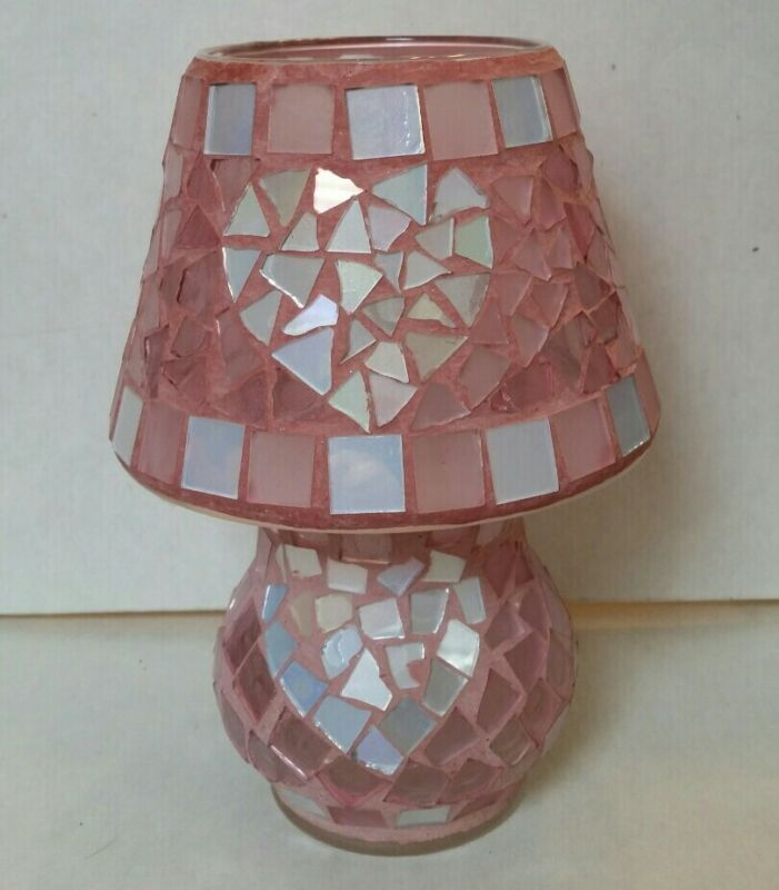 HOME INTERIORS PINK SILVER HEART MOSAIC GLASS CANDLE TOPPER SHADE &  HOLDER