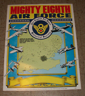 "The Mighty Eighth Air Force Poster 17x22"" 8th Air Force Historical Society WW2"